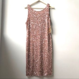 Alice + Olivia Kendra Sequin Shift Dress Pink 10